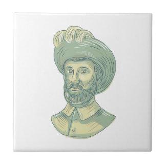 Juan Sebastian Elcano Bust Drawing Tile
