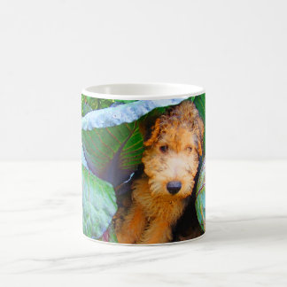 Jubal dog under cabbage leaf--dry brush coffee mug