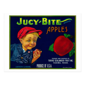 Jucy Bite Apple Crate LabelYakima, WA Postcard