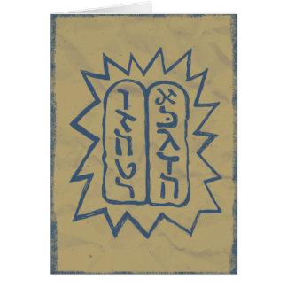 Judaica: Distressed Tem Commandments in Blue Card