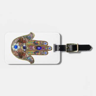 Judaica Hamsa Hearts Flowers Opal Art Print Luggage Tag