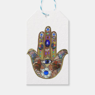 Judaica Hamsa Hearts Flowers Opal Art Print Pack Of Gift Tags
