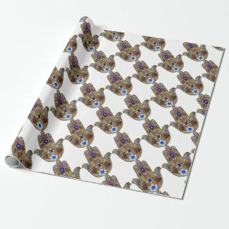 Judaica Hamsa Hearts Flowers Opal Art Print Wrapping Paper