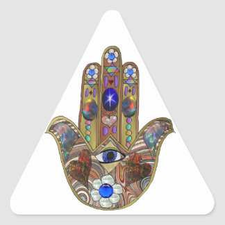 Judaica Hamsa Hearts Flowers Opal Print Triangle Sticker