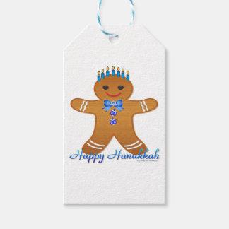 Judaica Hanukkah Gingerbread Man Menorah Gift Tags
