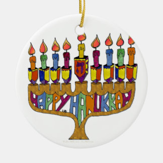 Judaica Happy Hanukkah Dreidel Menorah Ceramic Ornament