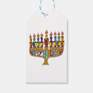 Judaica Happy Hanukkah Dreidel Menorah Gift Tags