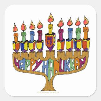 Judaica Happy Hanukkah Dreidel Menorah Square Sticker