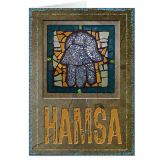 Judaica: Mosaic Hamsa w/ Cement Background Card