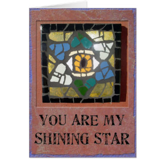 Judaica: Mosaic Hearts Star of David with Evil Eye Card