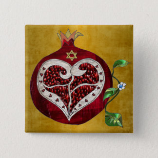 Judaica Pomegranate Heart Hanukkah Rosh Hashanah 2 Inch Square Button