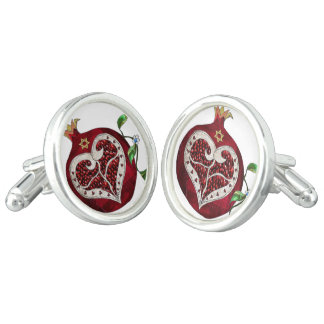 Judaica Pomegranate Heart Hanukkah Rosh Hashanah Cuff Links