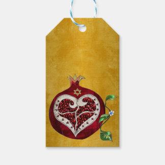 Judaica Pomegranate Heart Hanukkah Rosh Hashanah Gift Tags