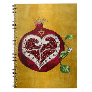 Judaica Pomegranate Heart Hanukkah Rosh Hashanah Notebook
