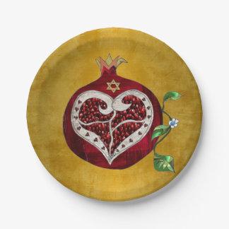 Judaica Pomegranate Heart Hanukkah Rosh Hashanah Paper Plate