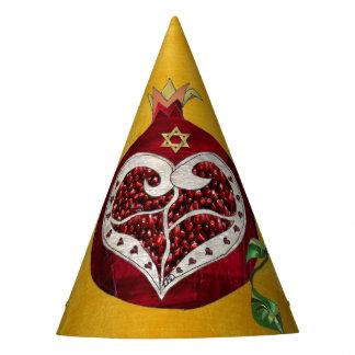 Judaica Pomegranate Heart Hanukkah Rosh Hashanah Party Hat