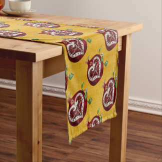 Judaica Pomegranate Heart Hanukkah Rosh Hashanah Short Table Runner