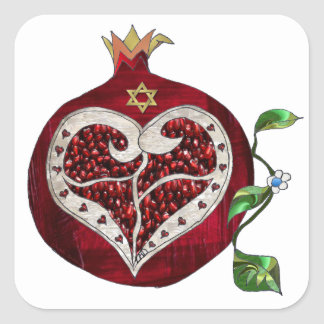 Judaica Pomegranate Heart Hanukkah Rosh Hashanah Square Sticker