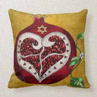 Judaica Pomegranate Heart Hanukkah Rosh Hashanah Throw Pillow