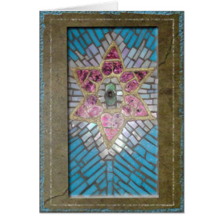 Judaica: Stained Glass Mosaic Hearts Star of David Card