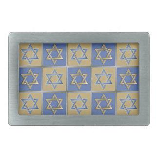 Judaica Star Of David Metal Gold Blue Rectangular Belt Buckles
