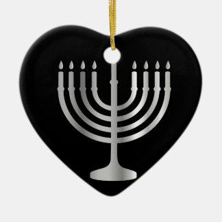 Judaism Menorah Ceramic Heart Ornament