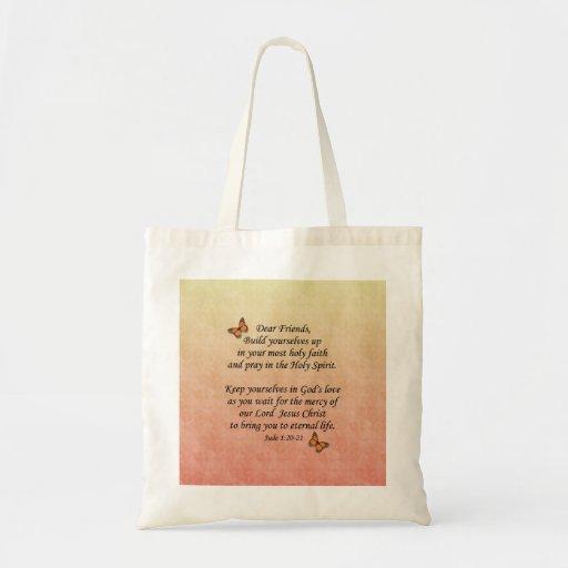 Jude 1:20-21 ~ Holy Faith Canvas Bags