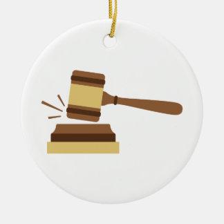 Judge Gavel Ceramic Ornament