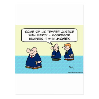 Judge temper justice with mercy money postcard