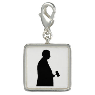 Judge With Gavel Silhouette Charm