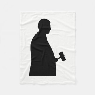 Judge With Gavel Silhouette Fleece Blanket