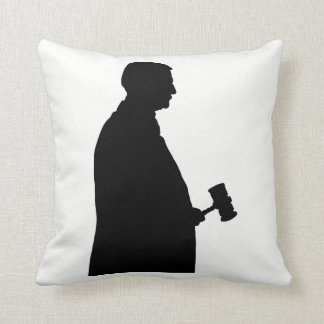 Judge With Gavel Silhouette Throw Pillow