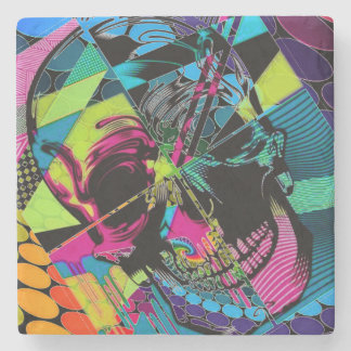 Judged Retro Skull Marble Stone Coaster