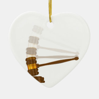 Judges Gravel Hitting The Block Ceramic Heart Ornament
