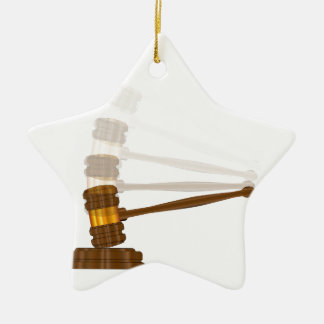 Judges Gravel Hitting The Block Ceramic Star Ornament