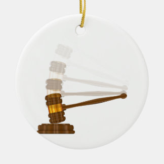 Judges Gravel Hitting The Block Round Ceramic Ornament