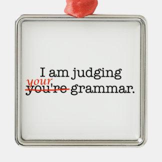 Judging Your Grammar Silver-Colored Square Ornament