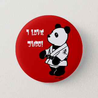 Judo Panda Cartoon with a Black Belt 2 Inch Round Button