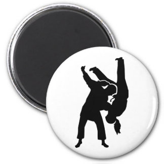 Judo woman girl 2 inch round magnet