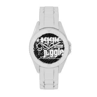 Juggle; Black & Dark Gray Stripes Watches