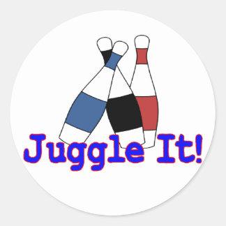 Juggle It Juggler Round Stickers