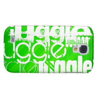 Juggle; Neon Green Stripes Galaxy S4 Covers