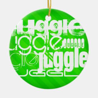 Juggle; Neon Green Stripes Round Ceramic Ornament