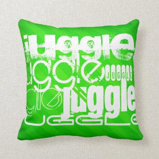Juggle; Neon Green Stripes Pillows