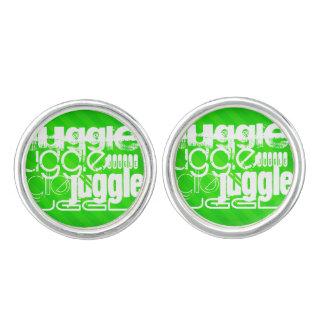 Juggle; Neon Green Stripes Cuff Links
