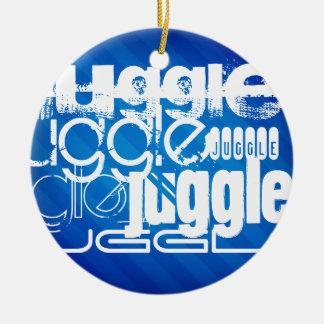 Juggle, Royal Blue Stripes Round Ceramic Ornament
