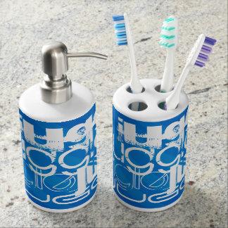 Juggle, Royal Blue Stripes Toothbrush Holders