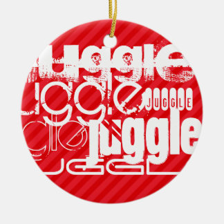 Juggle; Scarlet Red Stripes Round Ceramic Ornament