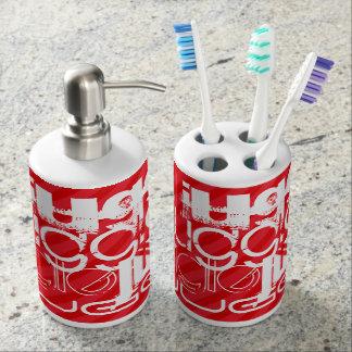 Juggle; Scarlet Red Stripes Soap Dispensers