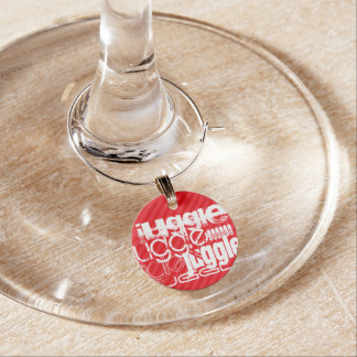 Juggle; Scarlet Red Stripes Wine Charm